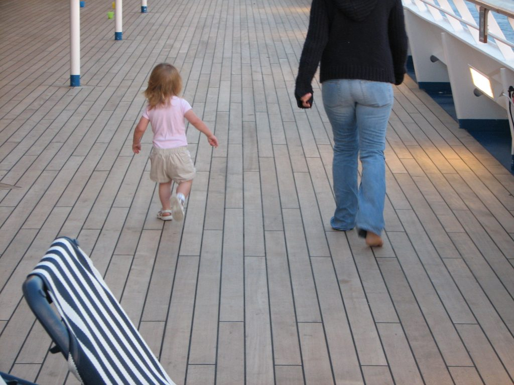 walking on cruise deck with a toddler.